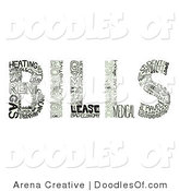 Vector Clipart of Finance Words Creating the Word BILLS by Arena Creative