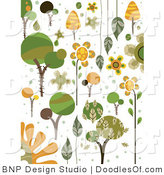 Vector Clipart of Green and Orange Tree Nature Doodles by BNP Design Studio