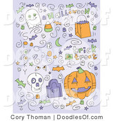 Vector Clipart of Halloween Doodles by Cory Thoman