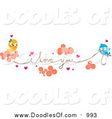 Vector Clipart of Love Birds Carrying an I Love You String by BNP Design Studio