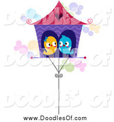 Vector Clipart of Love Birds Cuddled in a House by BNP Design Studio