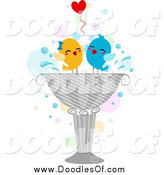 Vector Clipart of Love Birds in a Bird Bath by BNP Design Studio