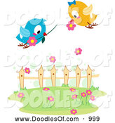 Vector Clipart of Love Birds with Flowers over a Yard by BNP Design Studio