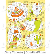 Vector Clipart of Mexican De Mayo Doodles by Cory Thoman