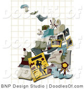 Vector Clipart of Printing Doodles over Graph Paper by BNP Design Studio