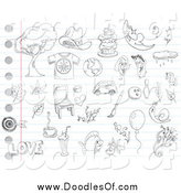 Vector Clipart of Random Doodles on Ruled Paper by Yayayoyo