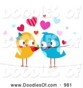 December 11th, 2013: Vector Clipart of Romantic Love Birds with a Flower by BNP Design Studio