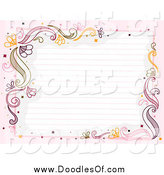 Vector Clipart of Ruled Paper Framed with Flourishes and Pink by BNP Design Studio