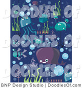 Vector Clipart of Sea Creature Doodles in the Sea by BNP Design Studio