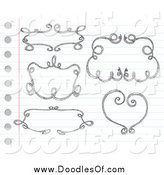 Vector Clipart of Sketched Doodle Frames on Paper by Yayayoyo