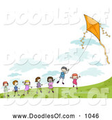 Vector Clipart of Stick Children Playing with a Kite by BNP Design Studio