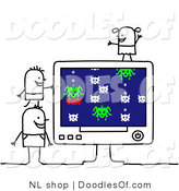 Vector Clipart of Three Stick Person Children Playing a Computer Game by NL Shop