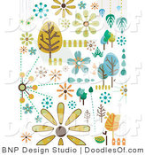 Vector Clipart of Tree and Nature Doodles by BNP Design Studio