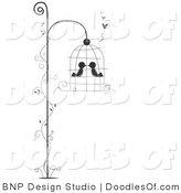 Vector Clipart of Two Birds Kissing in a Hanging Bird Cage with a Vine by BNP Design Studio