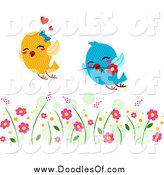 Vector Clipart of Two Lovebirds Flying Through a Garden by BNP Design Studio