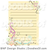 Vector Doodle of Yellow Notepad Paper with Stars and Swirls by BNP Design Studio