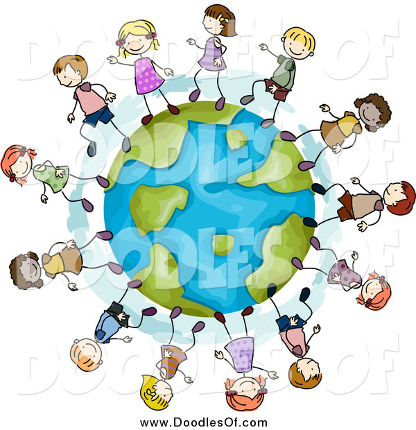 Clipart of a Doodle of Happy Stick Kids Playing on a Globe