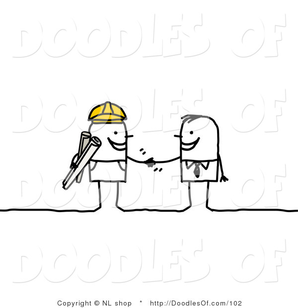 Stick People Business Man Shaking Hands with a Construction Foreman