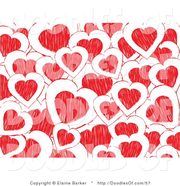 Vector Clipart of a Background of White and Red Doodled Valentine Hearts