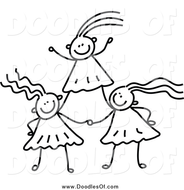 Vector Clipart of a Black and White Doodle of Girls Forming a Pyramid