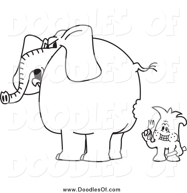Vector Clipart of a Black and White Doodle Squiggle Guy so Hungry Hes Eating an Elephant