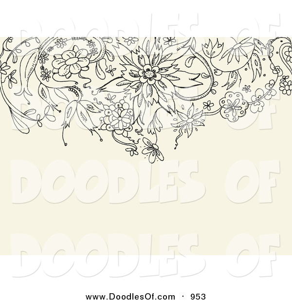Vector Clipart of a Black Floral Doodle Border on a Tan Background