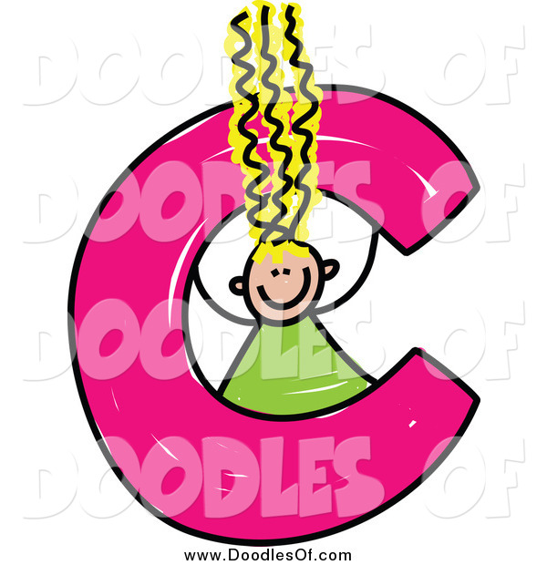 Vector Clipart of a Blond Doodle Girl in a Lowercase Letter C