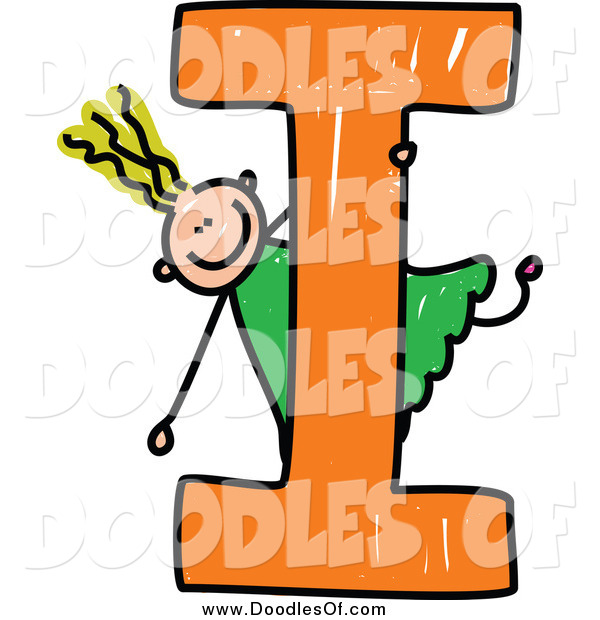 Vector Clipart of a Blond Doodled Girl Playing on Capital Letter I