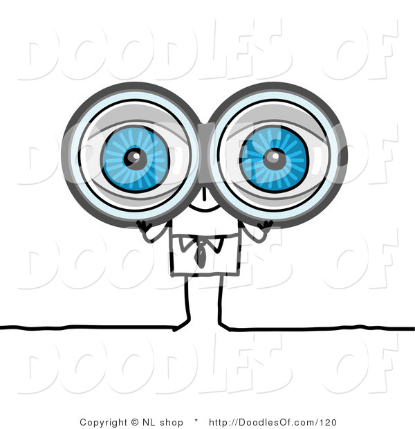 Vector Clipart of a Blue-eyed Stick Person Business Man Looking Through Binoculars