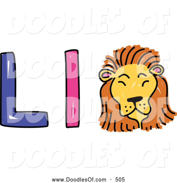 Vector Clipart of a Capital and Lowercase Alphabet Letter L with a Lion