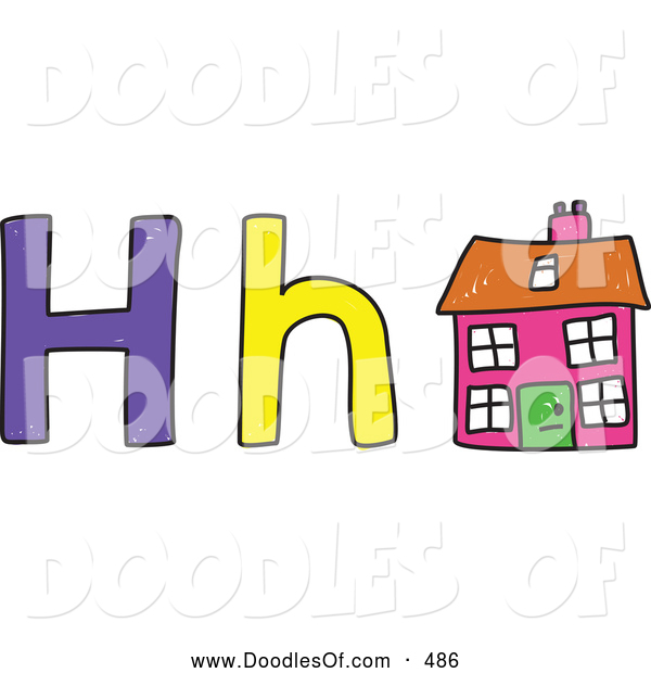 Vector Clipart of a Capital and Lowercase Letter H with a Child's Coloring of a House