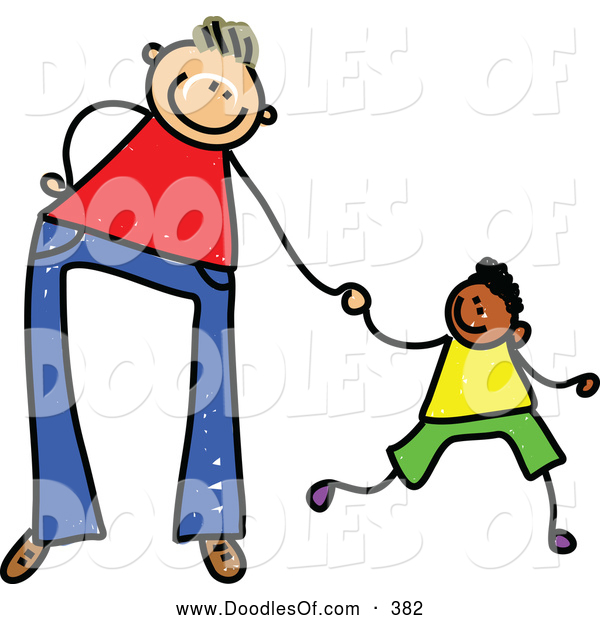 Vector Clipart of a Cartoon of a Father Holding Hands with His Son