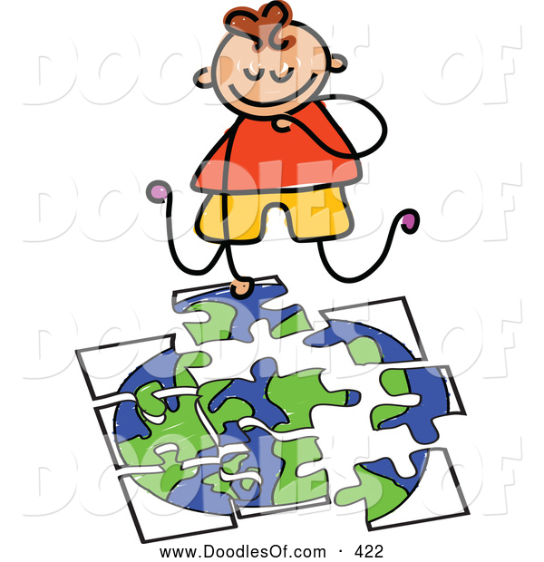 Vector Clipart of a Cheerful Boy Doing a Globe Puzzle