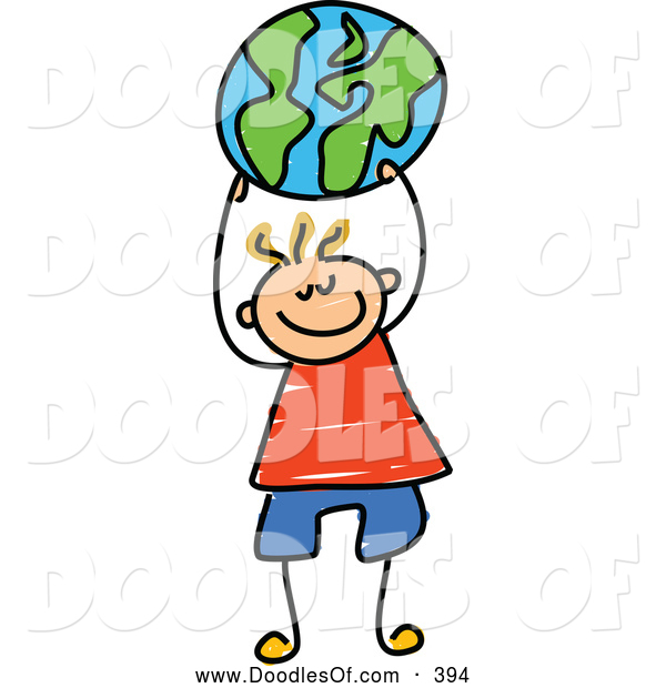 Vector Clipart of a Cheerful Boy Holding up a Globe Ball