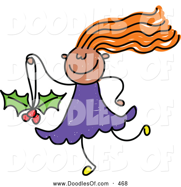 Vector Clipart of a Cheerful Girl Carrying a Holly Christmas Ornament