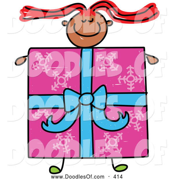 Vector Clipart of a Cheerful Girl with a Present Body