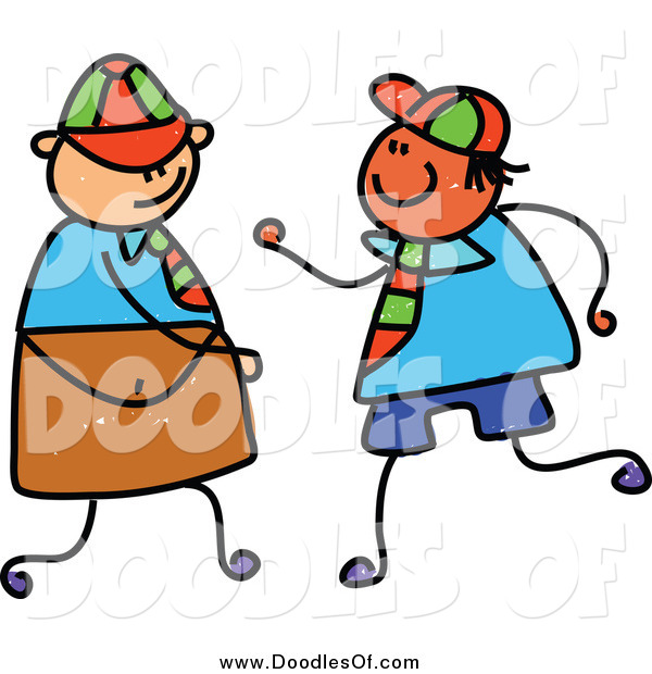 Vector Clipart of a Childs Doodle of Two School Boys