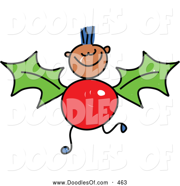 Vector Clipart of a Child's Drawing of a Boy with a Holly Body