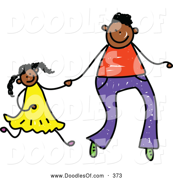 Vector Clipart of a Childs Drawing of a Father Holding Hands with His Daughter