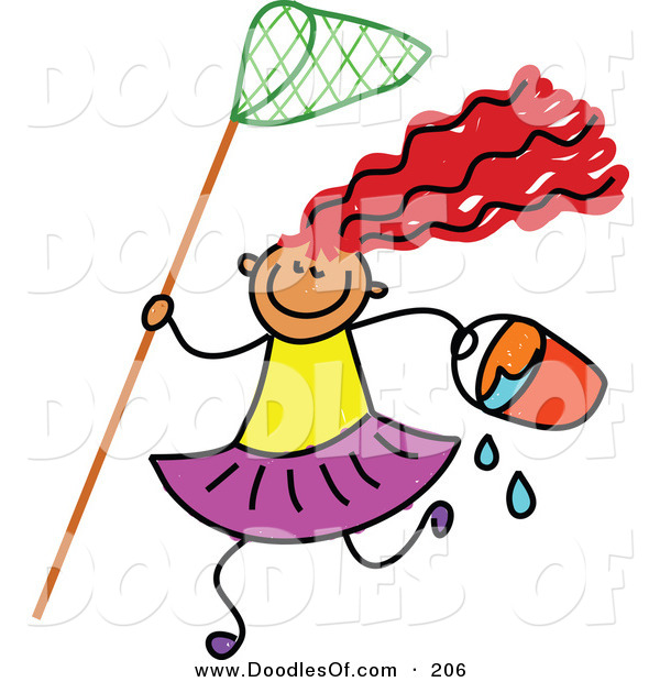 Vector Clipart of a Childs Sketch of a Beach Girl with Red Haire and a Net and Bucket