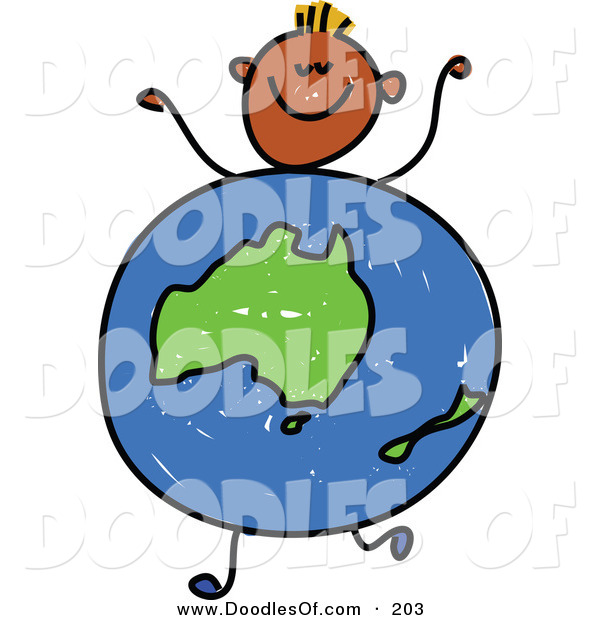 Vector Clipart of a Childs Sketch of a Black Boy with an Australian Globe Body