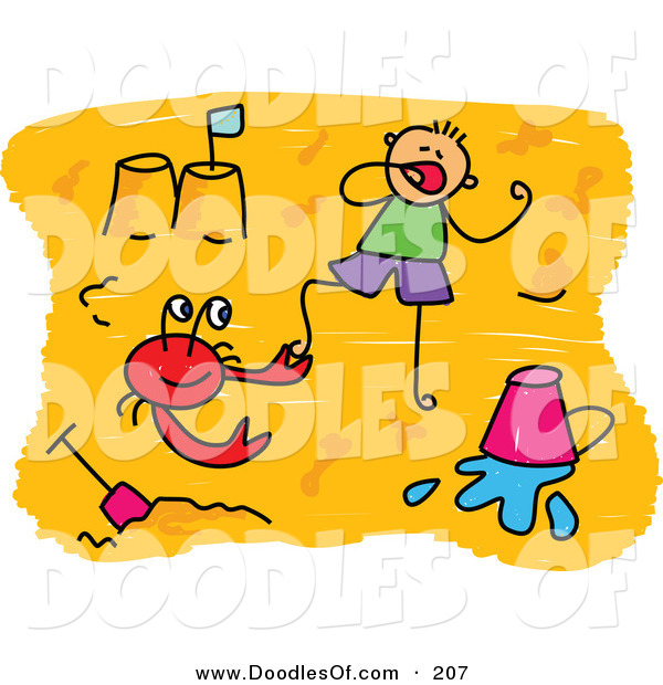Vector Clipart of a Childs Sketch of a Boy and a Red Crab on a Beach