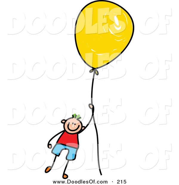 Vector Clipart of a Childs Sketch of a Boy Floating Away with a Yellow Balloon