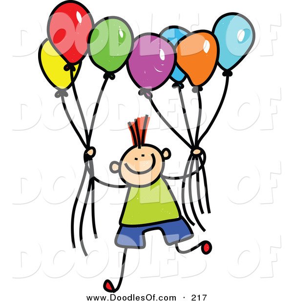 Vector Clipart of a Childs Sketch of a Boy Holding a Group of Colorful Balloons