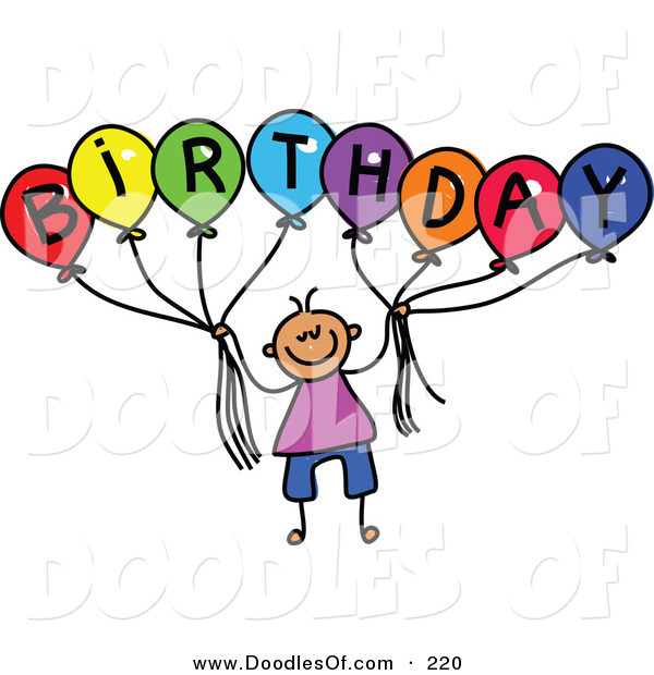 Vector Clipart of a Childs Sketch of a Boy Holding Balloons Spelling Birthday for a Party