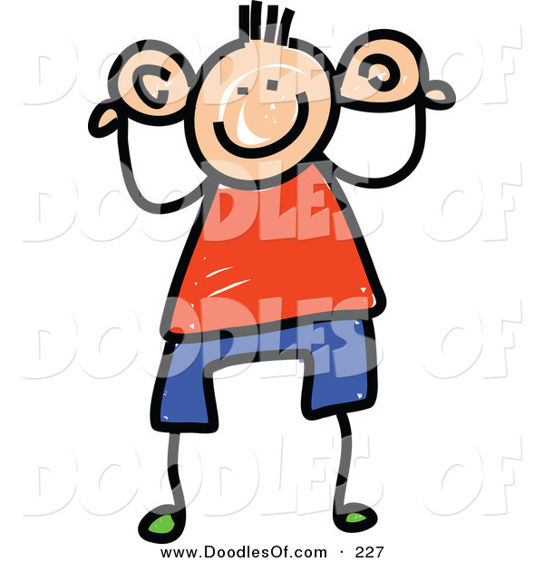 Vector Clipart of a Childs Sketch of a Boy Holding His Big Ears