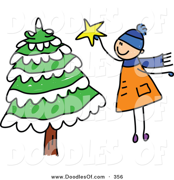 Vector Clipart of a Childs Sketch of a Boy Jumping to Put a Star on a Tall Christmas Tree