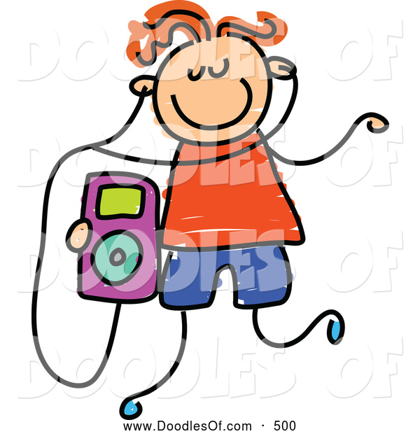 Vector Clipart of a Child's Sketch of a Boy Listening to an Ipod