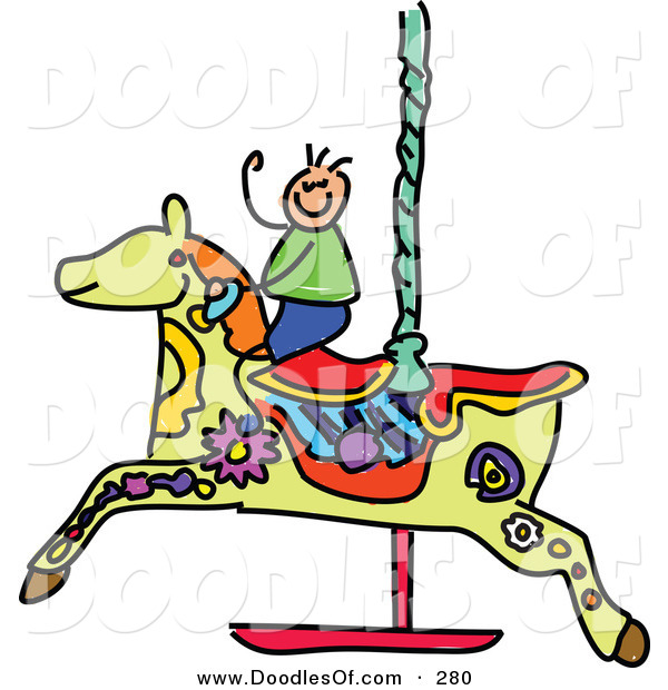 Vector Clipart of a Childs Sketch of a Boy on a Carousel Horse on White