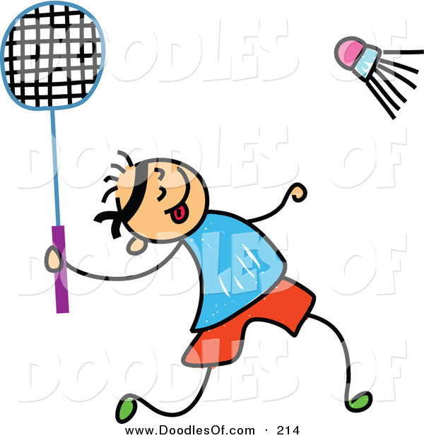 Vector Clipart of a Childs Sketch of a Boy Playing Badminton on White
